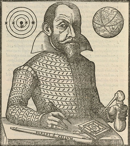 Engraved image of Simon Marius 1573-1624 from his book Mundus Iovialis 1614