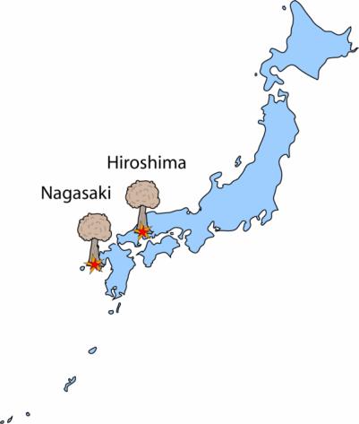 mapa hiroszima i nagasaki
