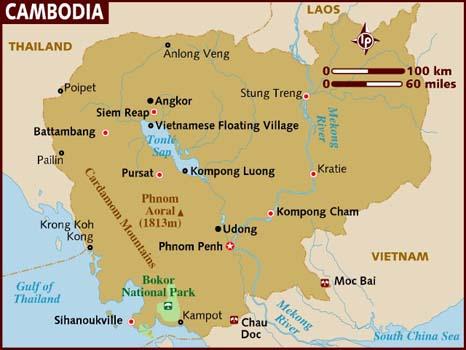 Współczesna mapa Kambodży, źródło: kompas.travel.pl
