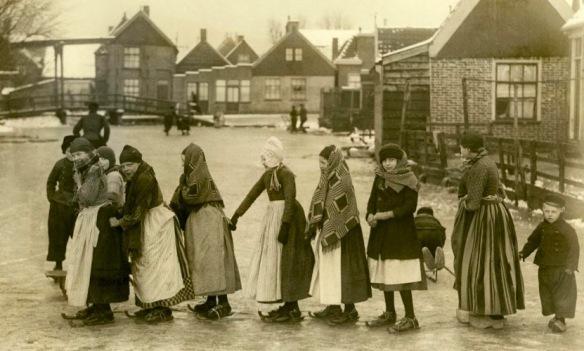 1919 r. Holandia Volendam łyżwy