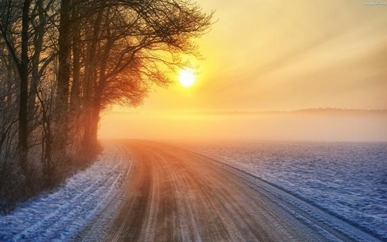drzewa-zima-zachod-slonca-droga-zakret 1