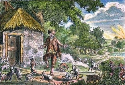 Alexander Selkirk tańczący z kozami