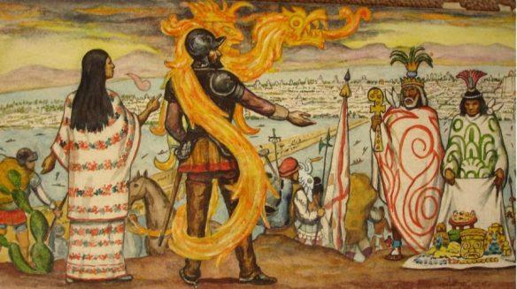 Malinche z Cortésem obraz Roberto Cueva del Río