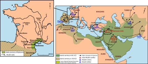 mapa podboju arabskiego w Europie