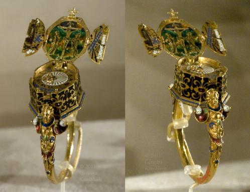 złoty pierścionek z zegarkiem z augsburga
