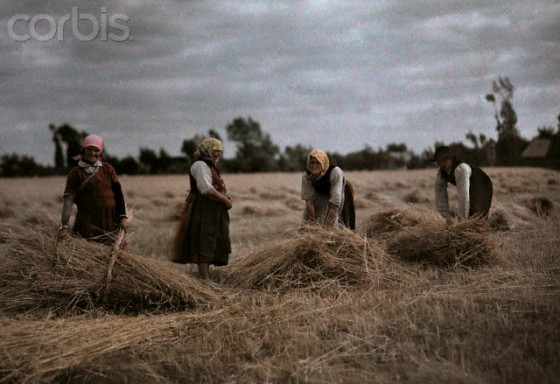 1933, Poland --- Grain harvesters suffer hard work with looming economic crisis --- Image by © Hans Hildenbrand/National Geographic Society/Corbis