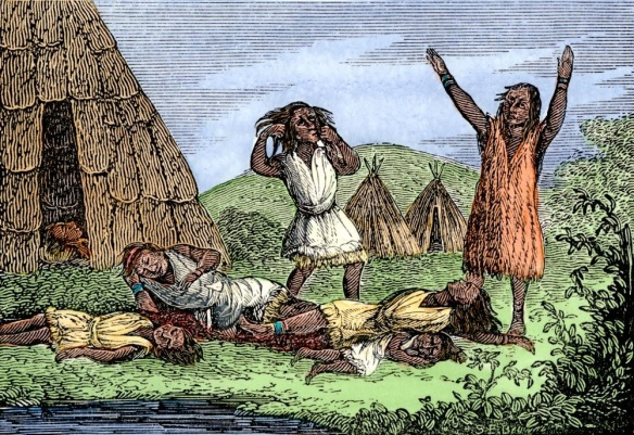 Great mortality amoung the Wampanoags due to smallpox, colonial Massachusetts, 1600s. Hand-colored woodcut. (North Wind Picture Archives via AP Images)