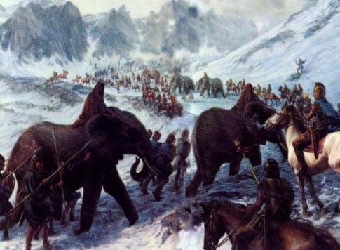 Hannibal-crossing-the-Alps-with-War-Elephants