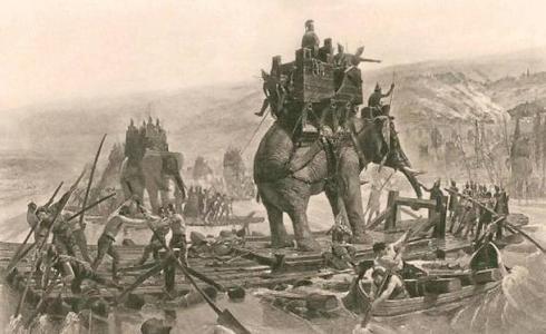 wojska Hannibala przekroczaja Rodan