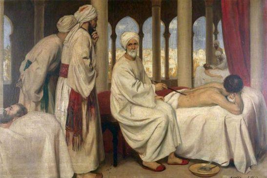 Obraz przedstawuający Al-Zahrawiego w szpitalu w Kordobie podczas zabiegu operacyjnego, autor nieznany, źródło: wikimedia commons