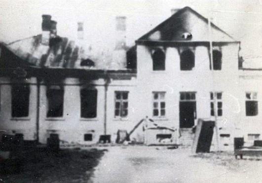 spalony budynek urzedu bezpieczenstwa w Hrubieszowie 1946