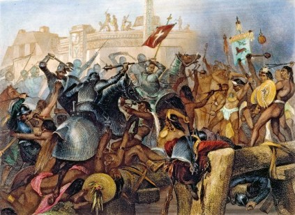CORTES & TENOCHTITLAN, 1521. The capture of Mexico City, or Tenochtitlan, by Hernando Cortes and his Spanish conquistadores, 13 August 1521: steel engraving, American, 1870.