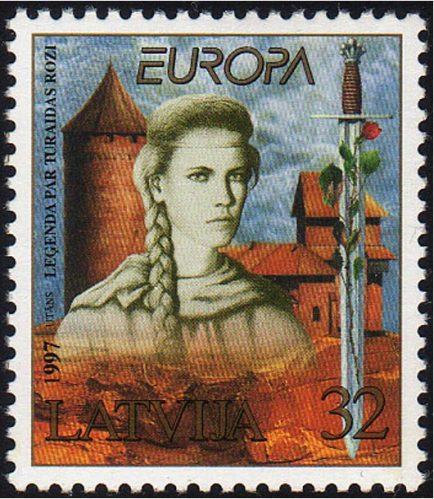 Roza Turaidy znaczek pocztowy
