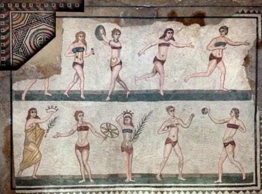 Rzymska mozaika gimnastyczki w bikini