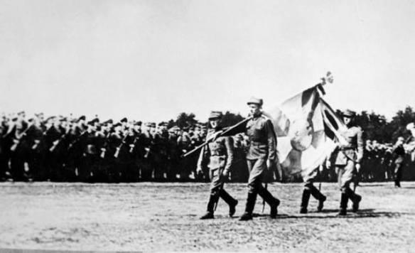 Wyprowadzenie sztandaru 1. Dywizji