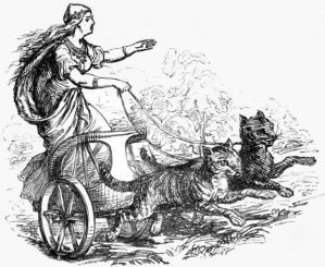 Nordycka bogini Freja na kocim zaprzęgu, autor rysunku Ludwig Pietsch, 1865 r., źródlo: Wikimedia Commons