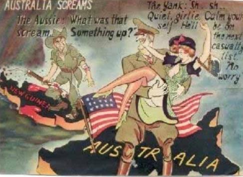 japoński plakat propagandowy o obecność Amerykanów w Australii
