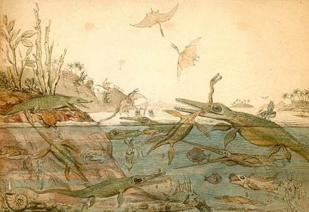 Duria Antiquior – obraz wykonany przez geologa Henry_ego De la Beche'a na podstawie skamieniałości odkrytych przez Mary Anning