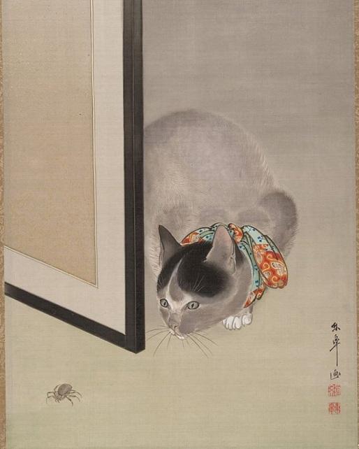 Kot obserwujący pająka, Japonia, XIX w